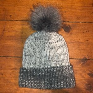 Gray Beanie with Fur Pom Pom